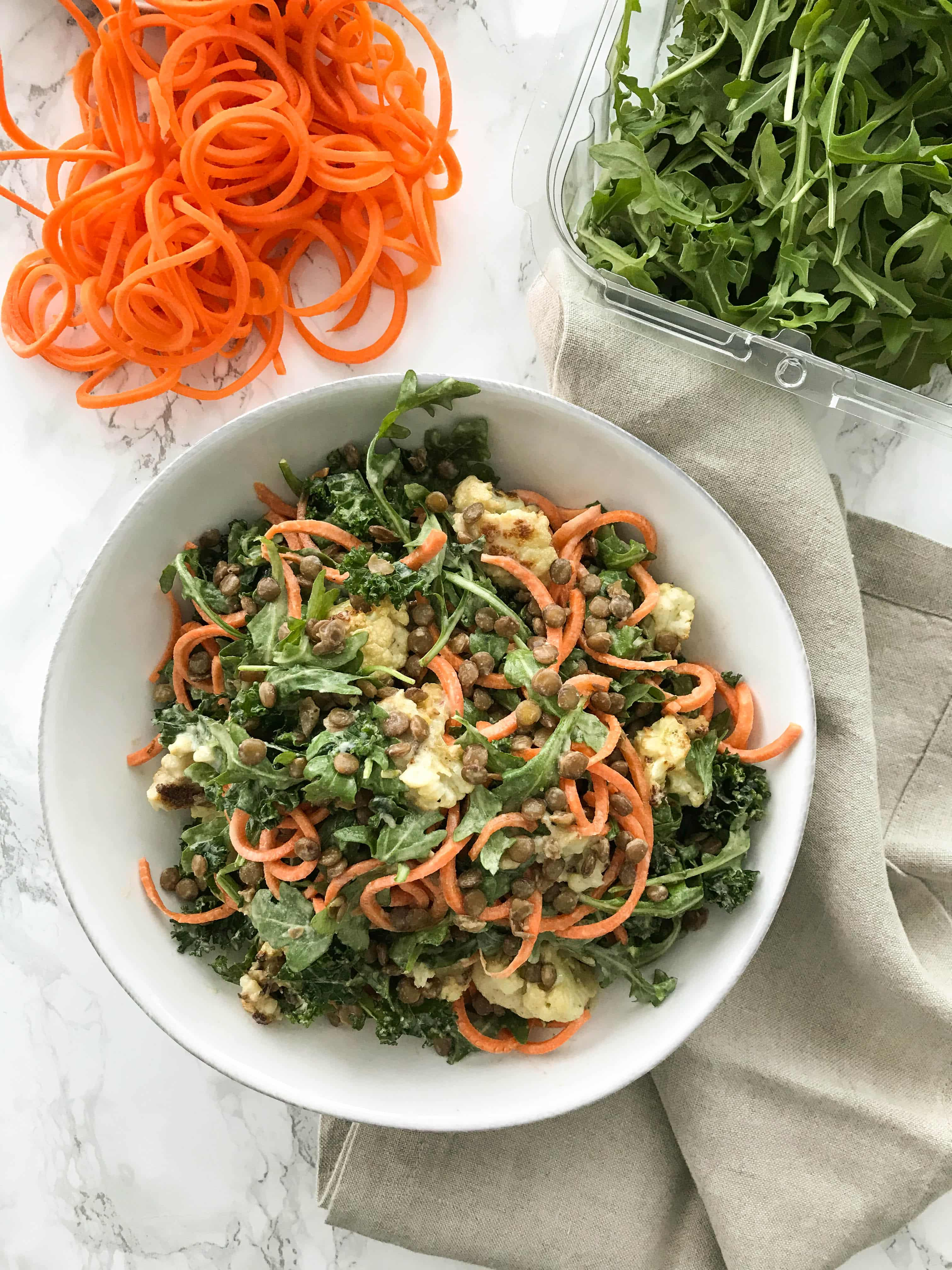 Roasted Cauliflower and Carrot Noodle Salad with Lentils