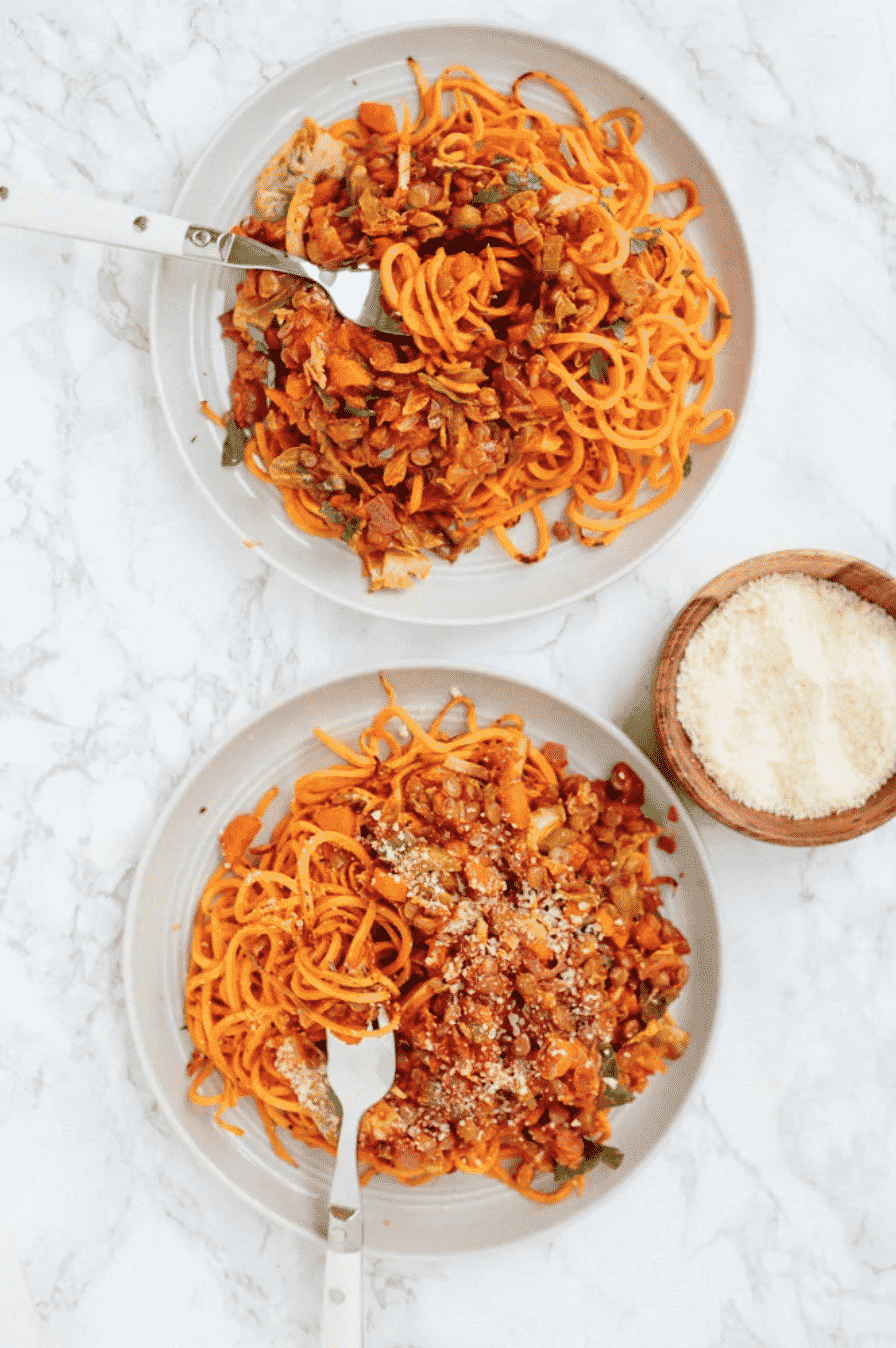 SWEET POTATO NOODLES WITH BRUSSELS SPROUTS AND LENTIL RAGU