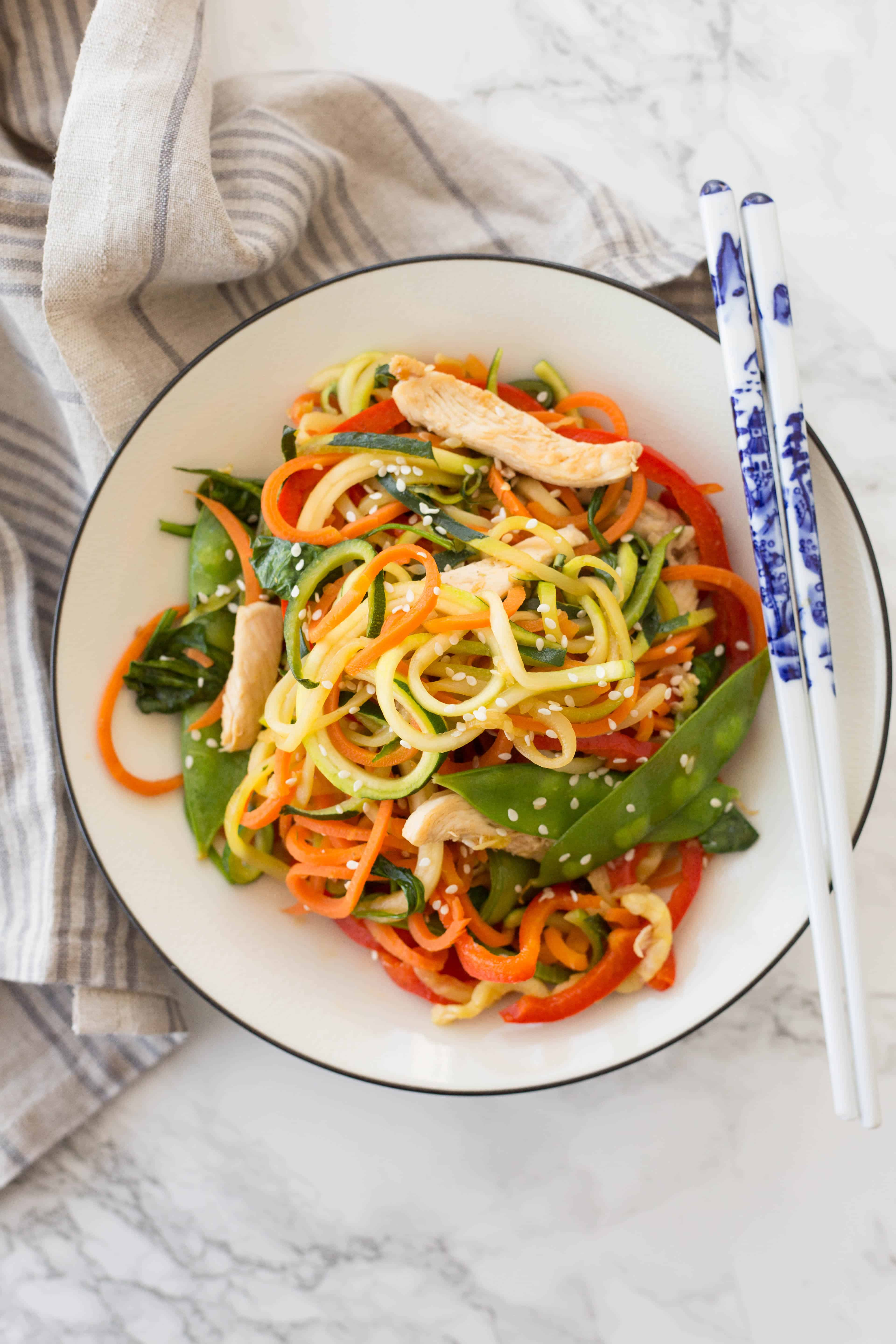 Chicken Lo-Mein with Spiralized Vegetables