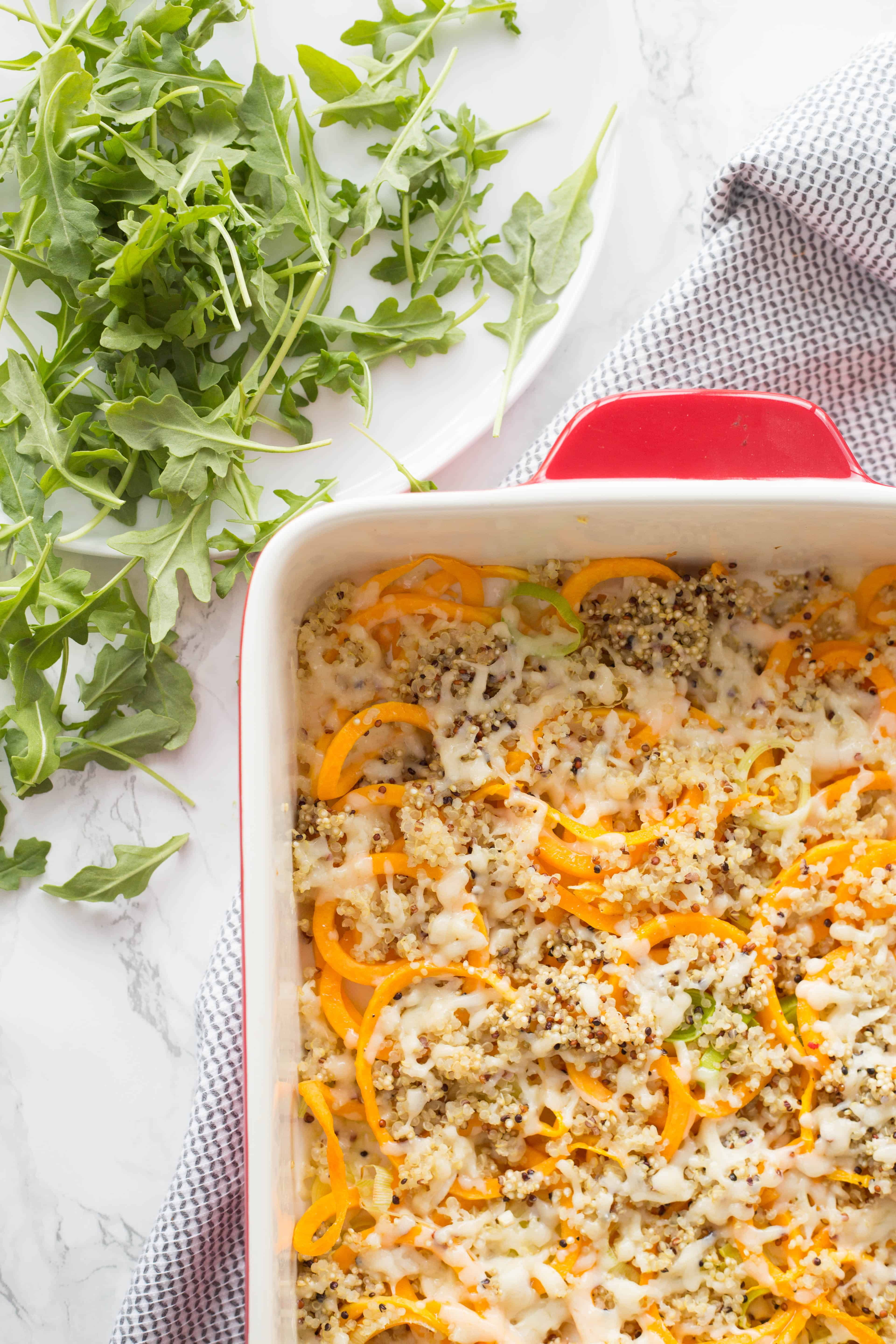 Spiralized Butternut Squash and Leek Quinoa Bake
