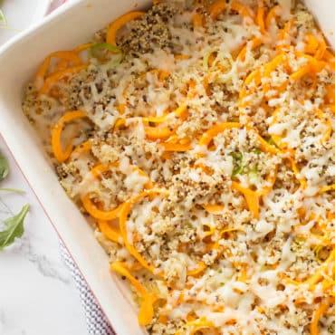 Spiralized Butternut Squash and Leek Quinoa Bake