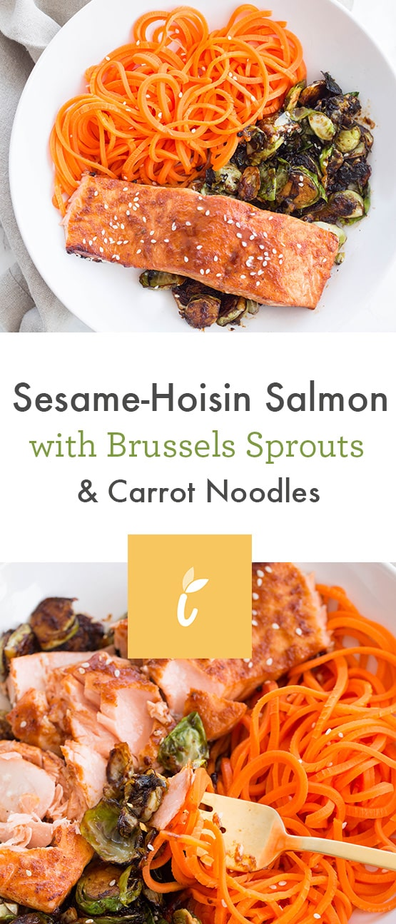 Sesame-Hoisin Salmon with Brussels Sprouts and Carrot Noodles