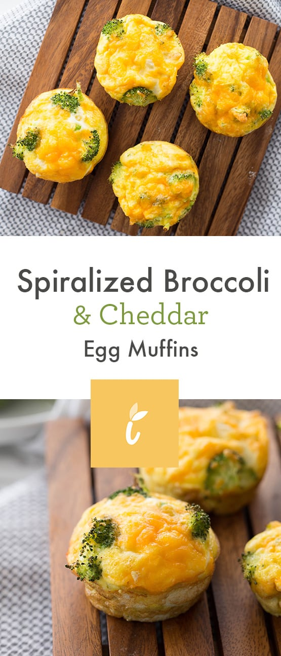 Spiralized Broccoli and Cheddar Egg Muffins