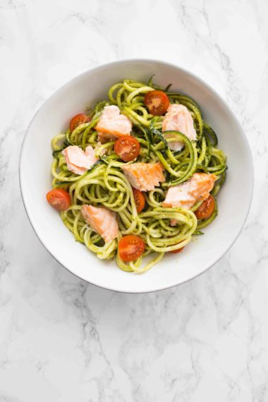 Pesto Zucchini Noodles with Salmon and Avocado