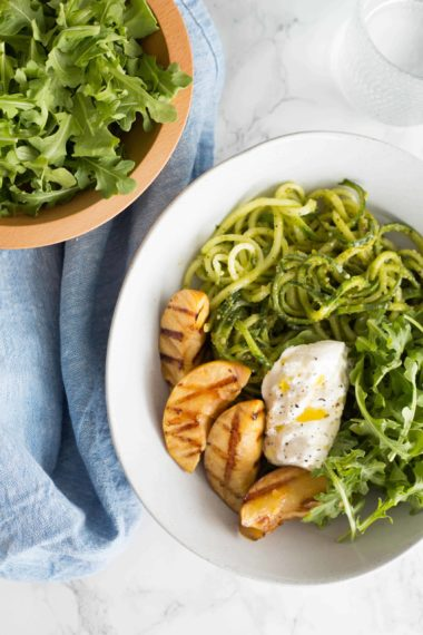 Summer Harvest Bowls with Grilled Peach, Burrata and Cucumber Noodles