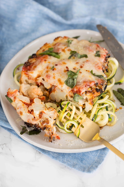 Gluten-Free Cauliflower Parmesan with Zucchini Noodles