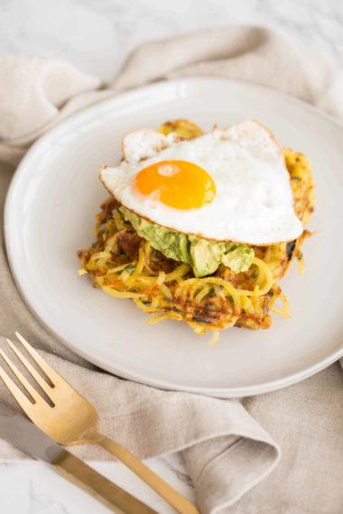 Spiralized Potato Chive Waffles with Avocado Mash and Fried Egg