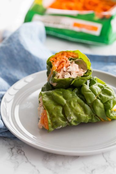 Buffalo Chicken Swiss Chard Wraps with Spiralized Carrots