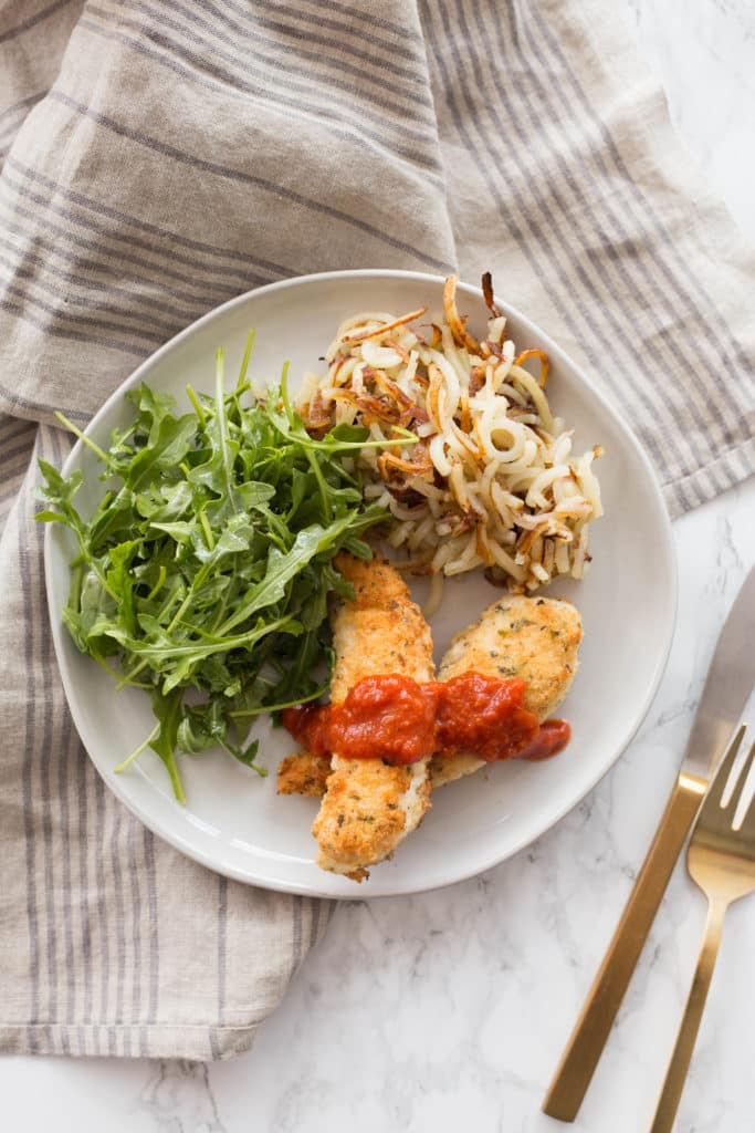Gluten-Free Chicken Tender Dinner with Spiralized Potatoes