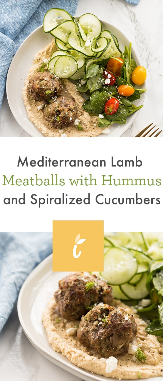 Mediterranean Lamb Meatballs with Hummus and Spiralized Cucumbers