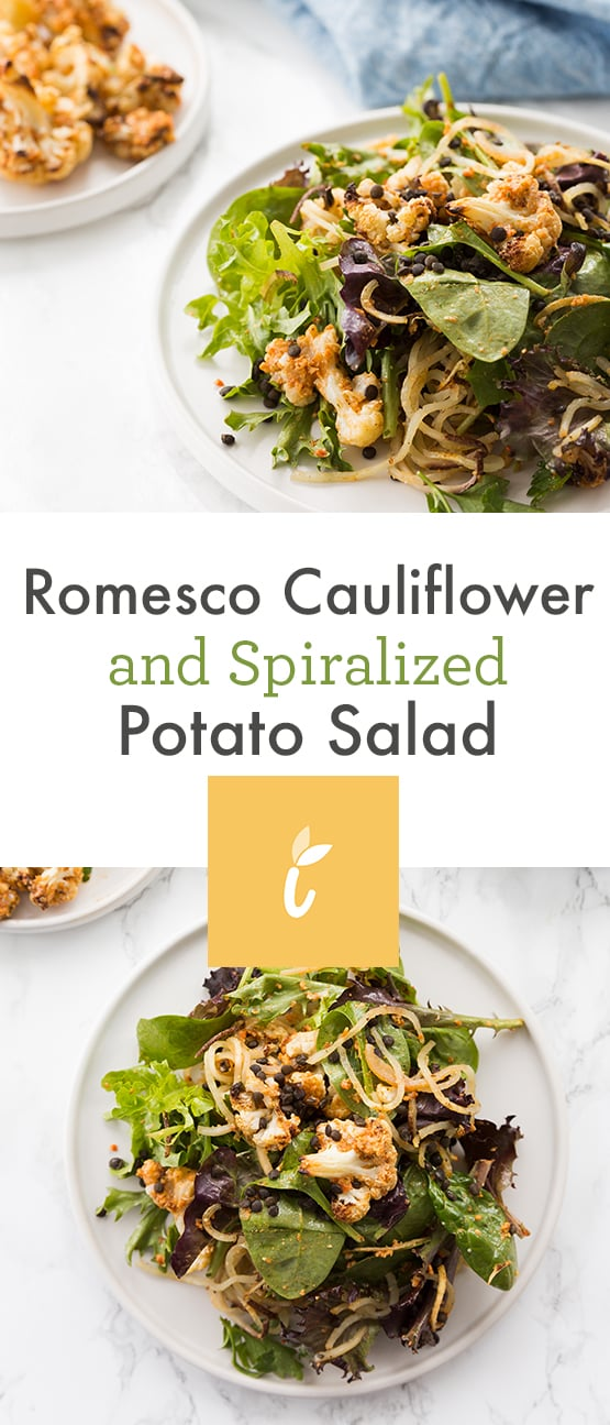 Romesco Cauliflower and Spiralized Potato Salad
