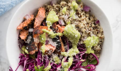 Blackened Salmon Taco Bowls with Avocado Crema