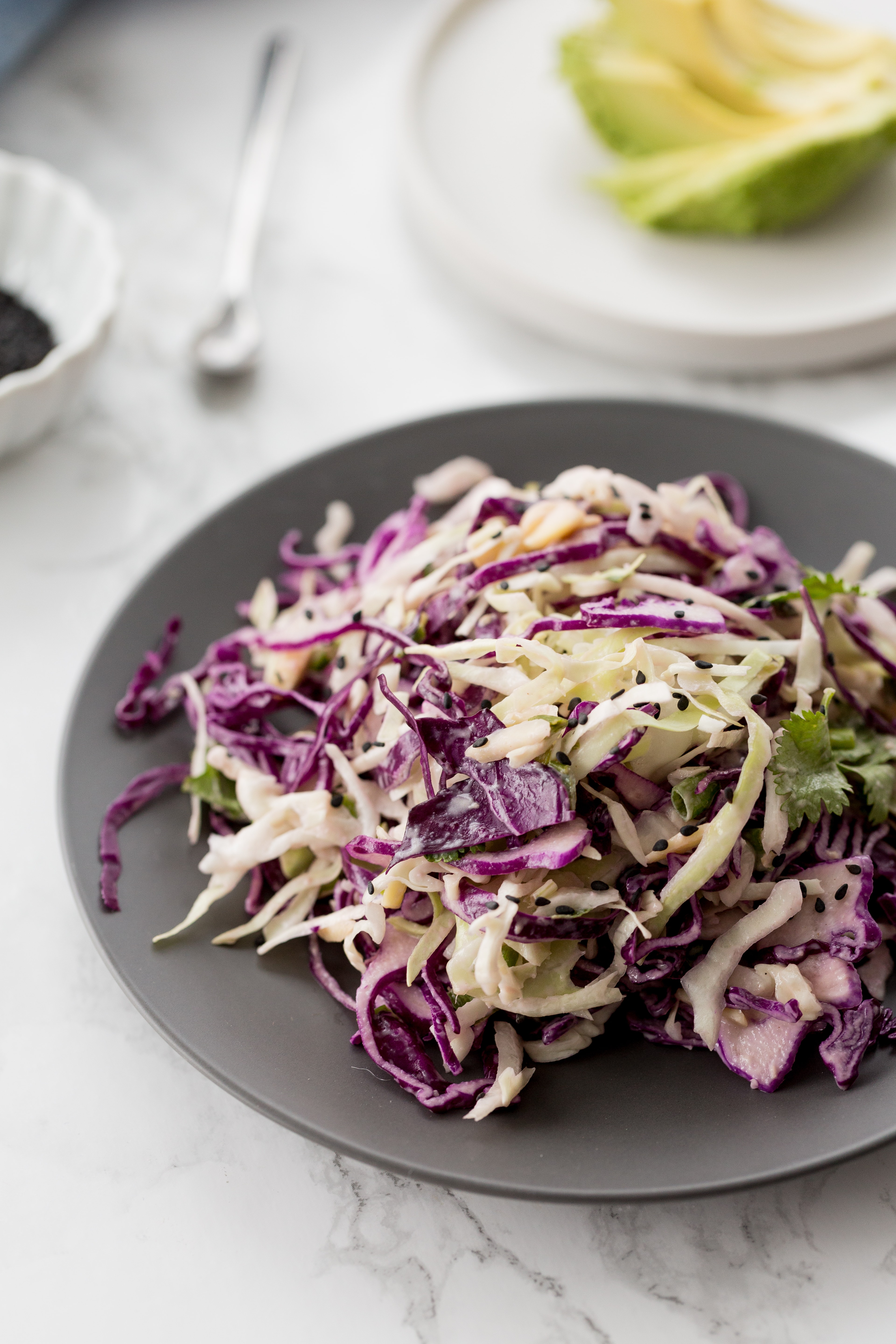 Spiralized Ginger-Tahini Cabbage Salad