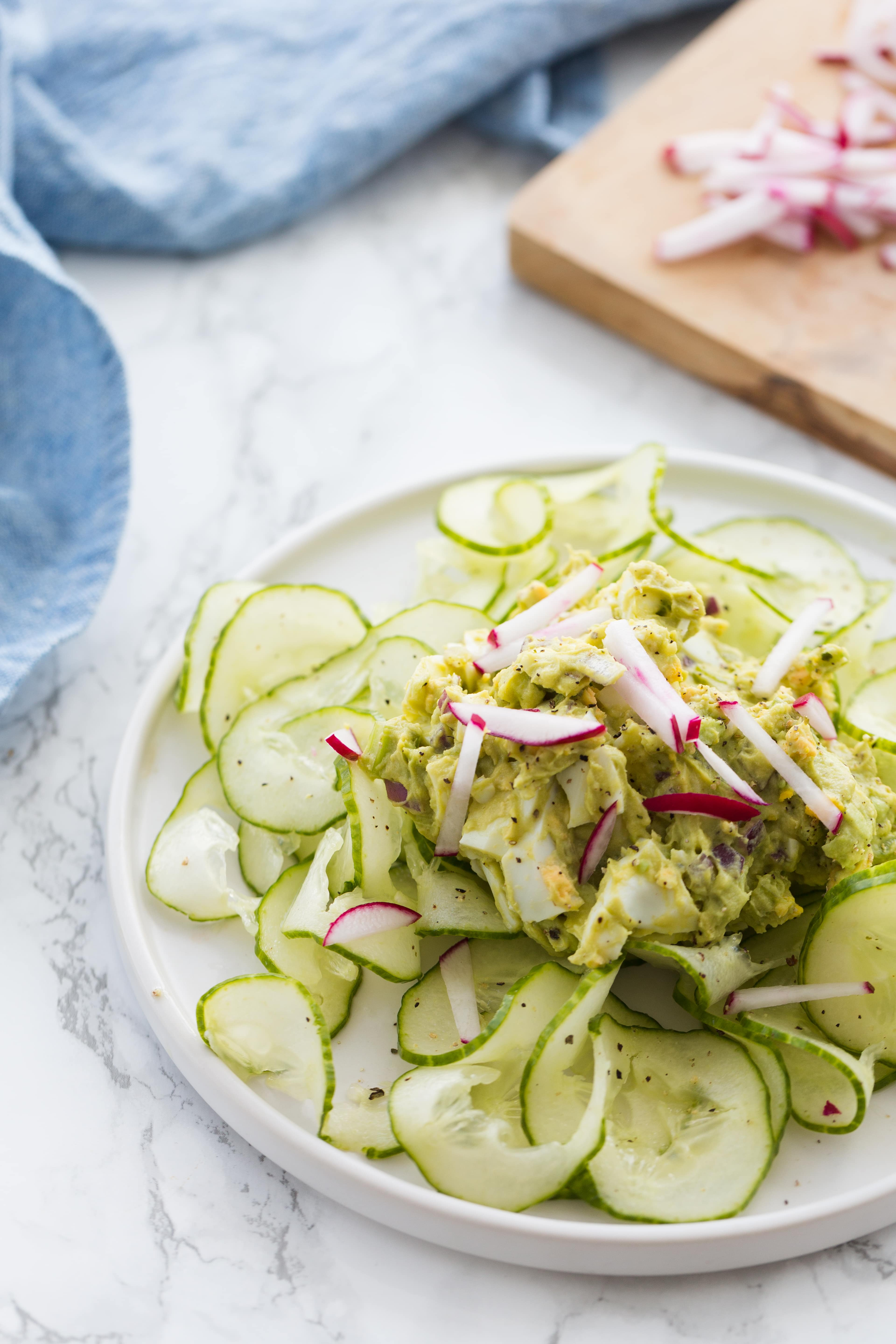 Avocado Egg Salad with Spiralized Cucumbers