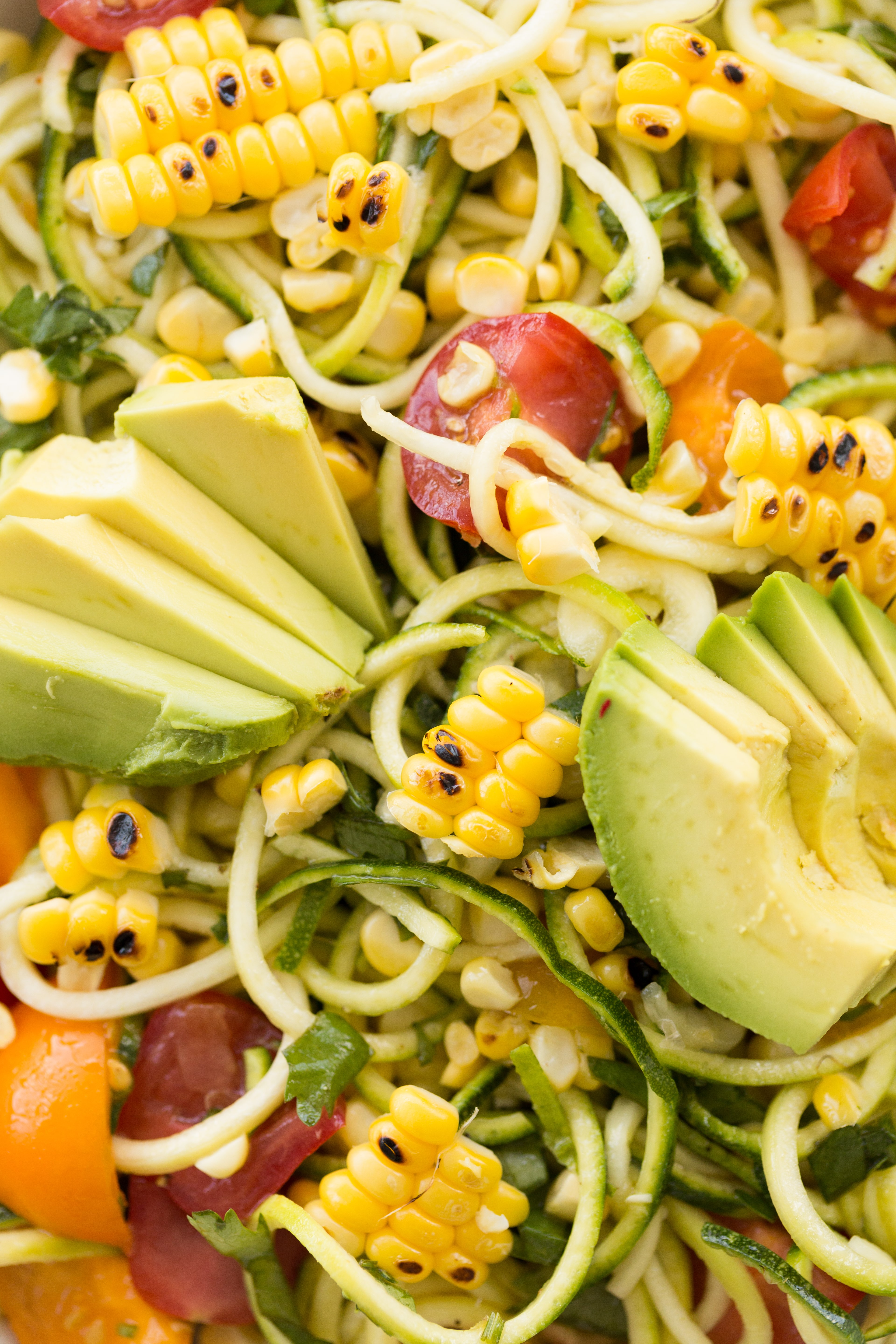 Grilled Corn and Zucchini Noodle Salad with Cilantro-Lime Dressing