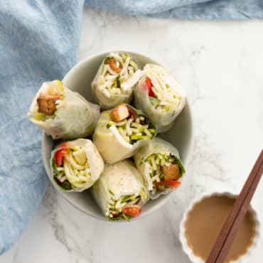 Caprese Summer Rolls with Tofu and Zucchini Noodles