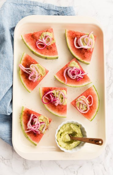 Spicy Watermelon Wedges with Spiralized Pickled Onions