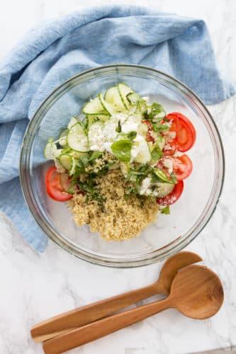 Spiralized Cucumber and Tomato Quinoa Salad