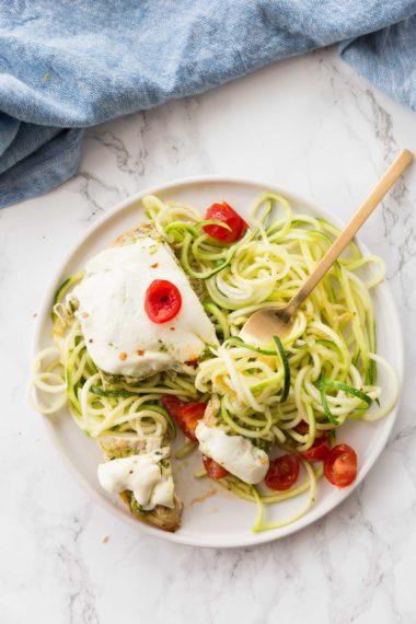 Pesto Chicken Mozzarella Melt with Zucchini Noodles