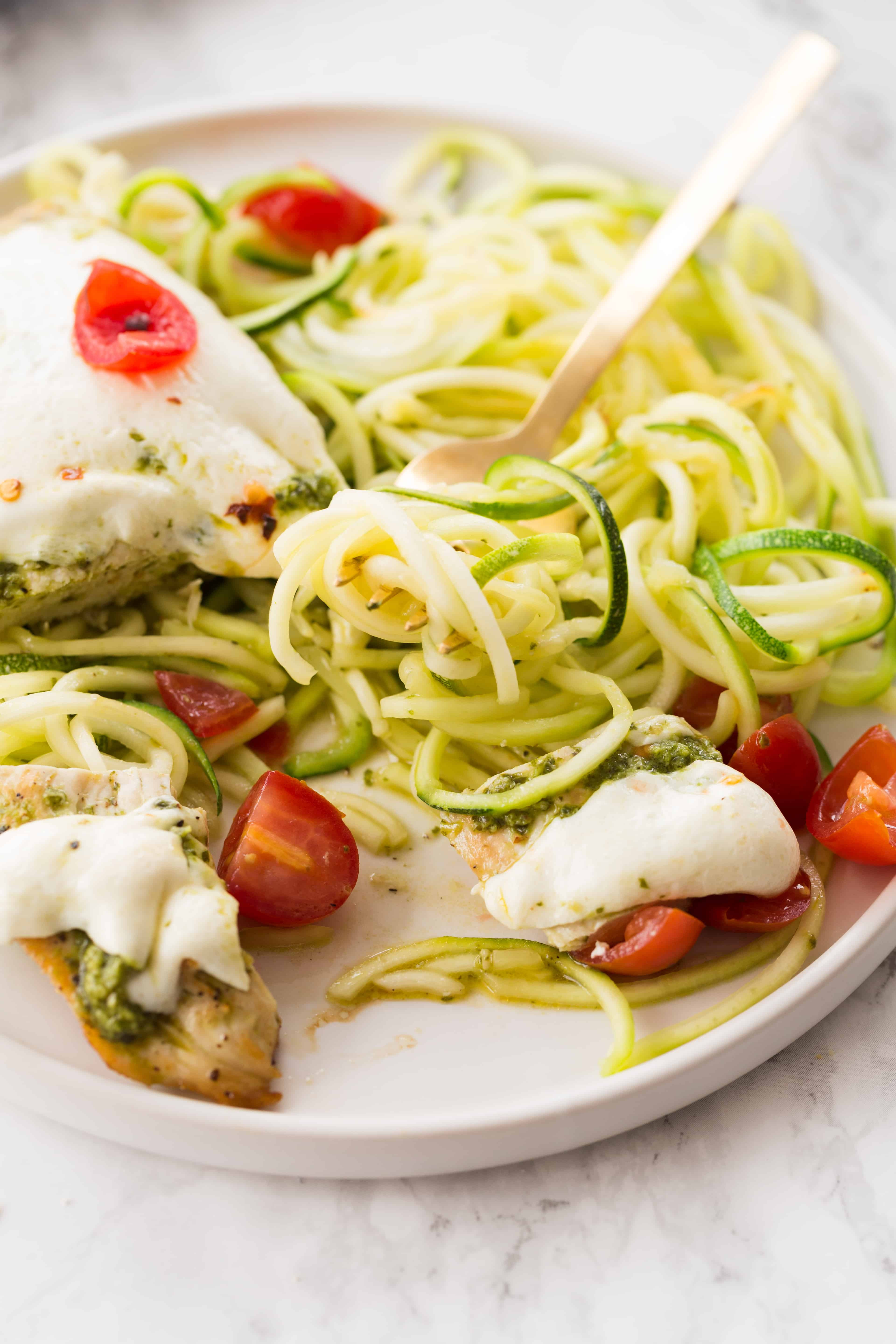 Pesto Chicken Mozzarella Melt with Zucchini Noodles
