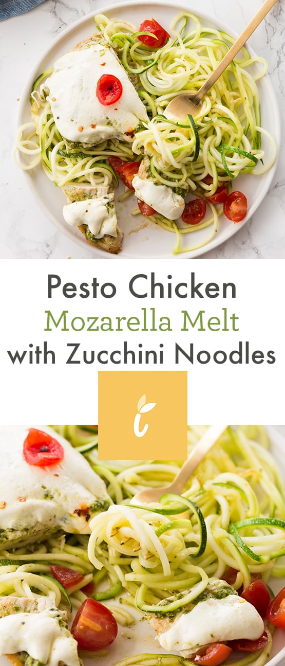 Pesto Chicken Mozarella Melt with Zucchini Noodles