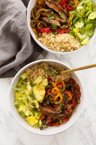 Vegan Pressure Cooker Portobello Mushroom Fajita Bowls