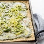 Socca Pesto Flatbread with Zucchini Noodles