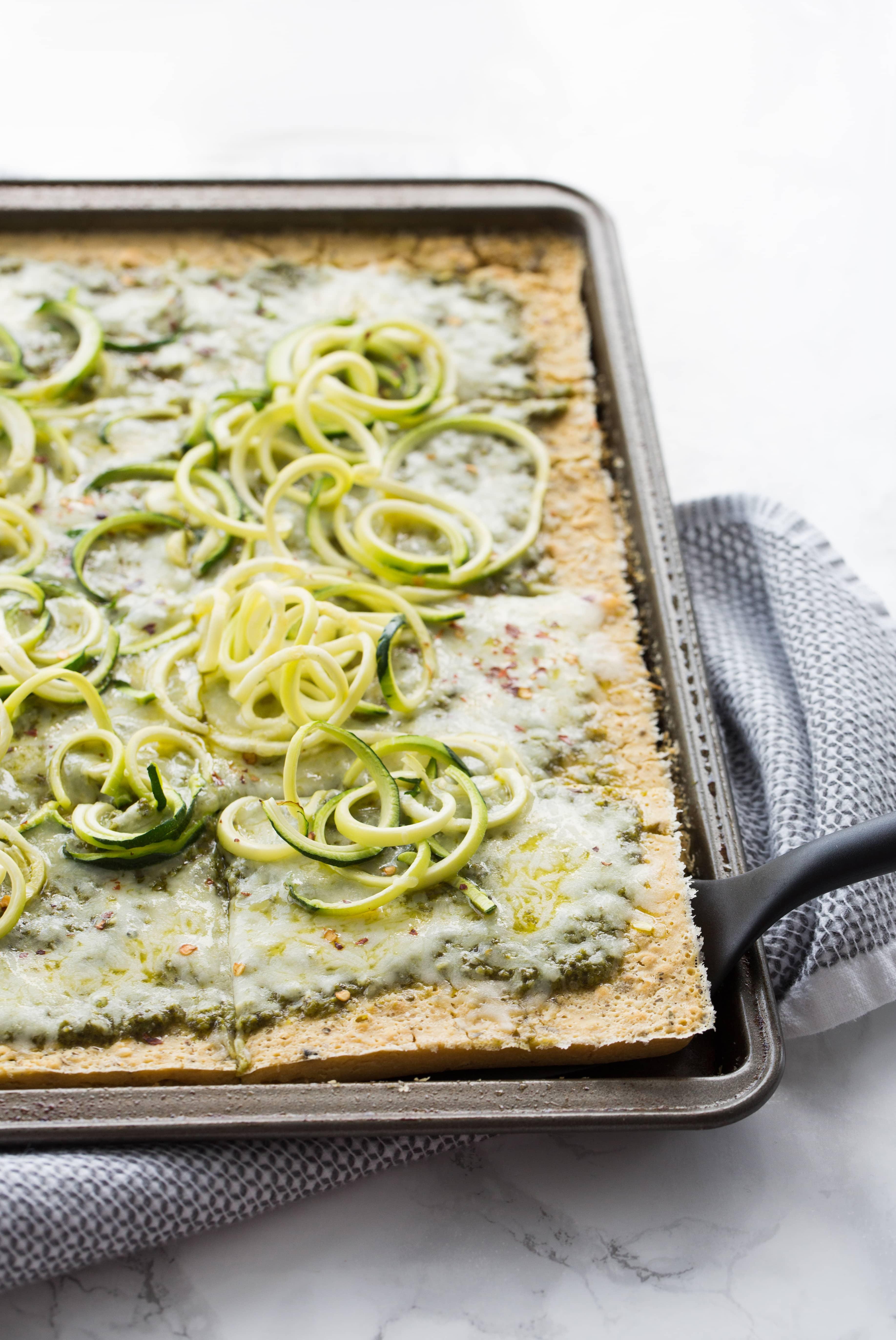 Socca Pesto Flatbread with Zucchini Noodles