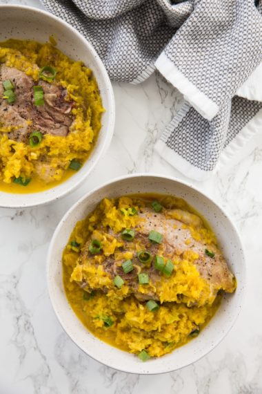 Creamy Coconut Golden Beet Rice with Pork Chops