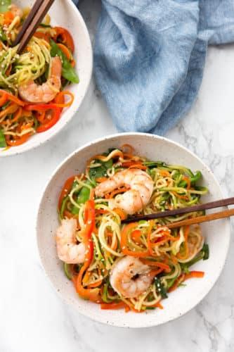 Shrimp Lo Mein with Zucchini Noodles