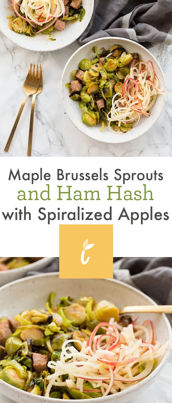 Maple Brussels Sprouts and Ham Hash with Spiralized Apples
