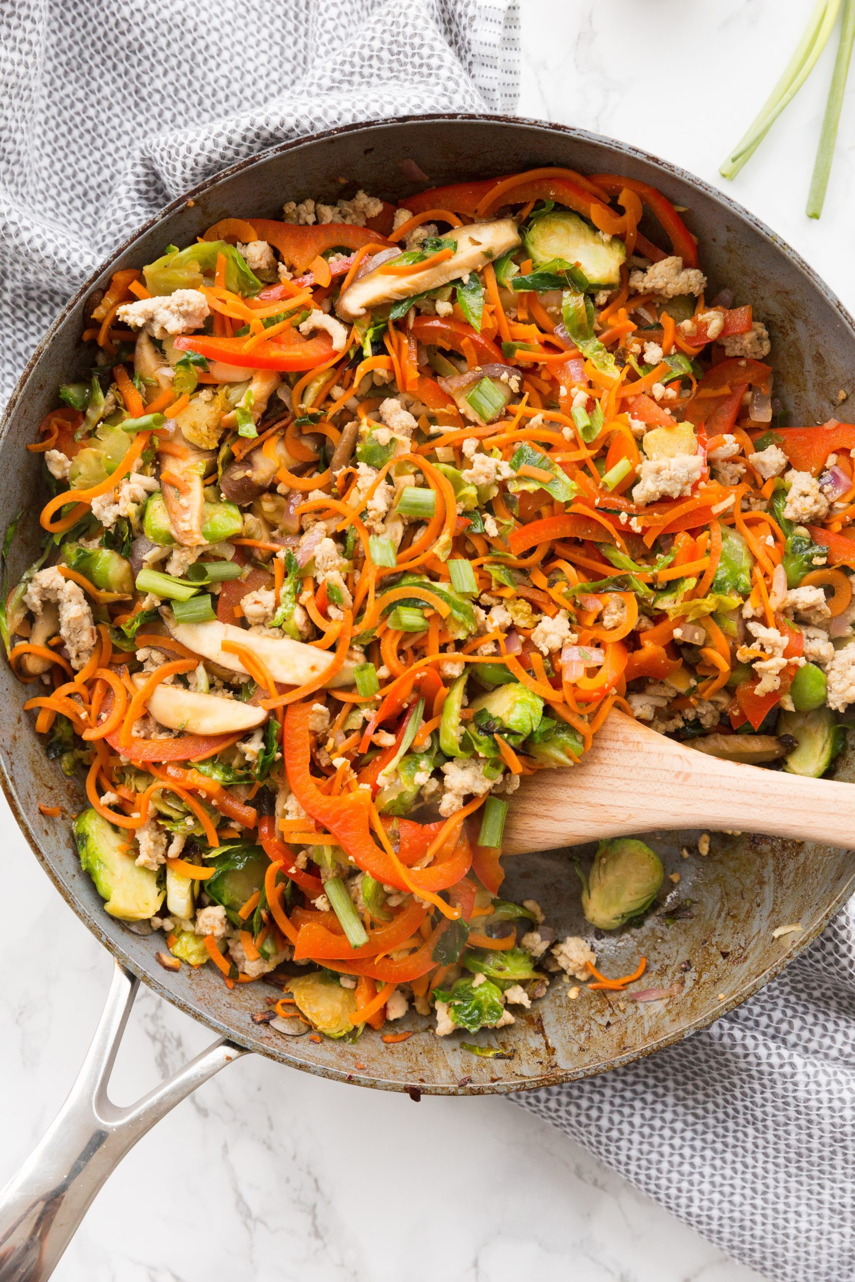 Spicy Stir-Fried Chicken and Shredded Brussels Bowls