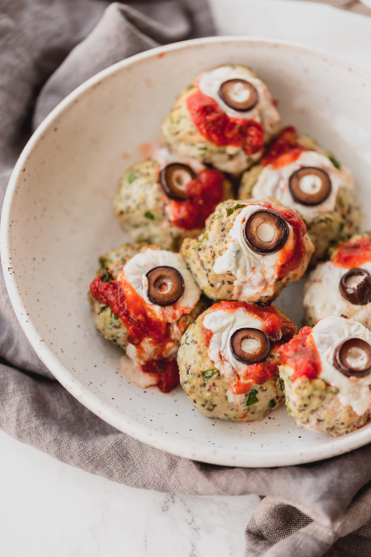 Oozing Eyeball Meatballs and Sweet Potato Worms