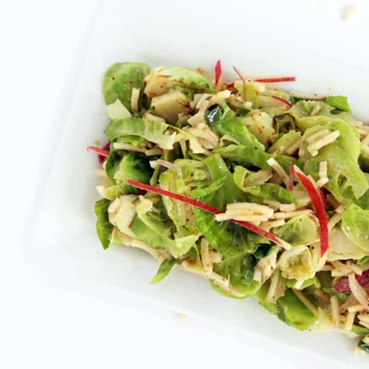 Sweet Hot Mustard Brussels Sprout and Apple Almond Salad