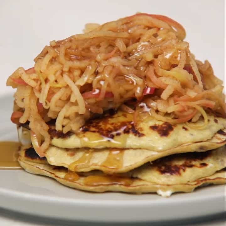 Two Ingredient Pancakes with Cinnamon Spiralized Apples