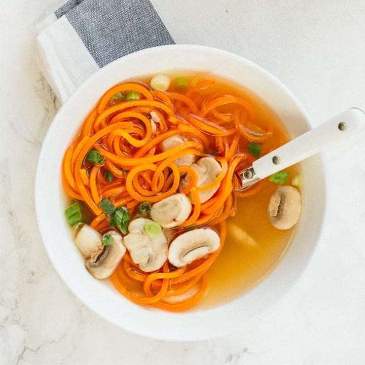 Easy Clear Onion Soup with Carrot Noodles