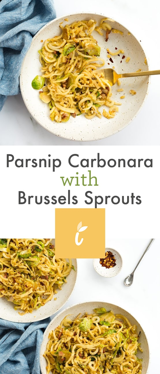 Parsnip Carbonara with Brussels Sprouts