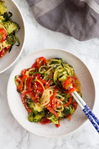 Vegetarian Teriyaki Zucchini Noodle Stirfry