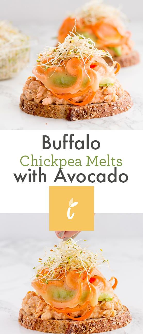buffalo chickpea melts with avocado