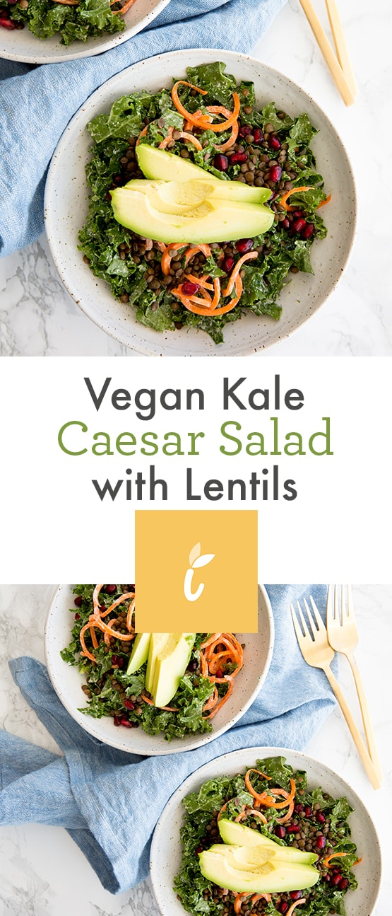 Vegan Kale Caesar Salad with Lentils