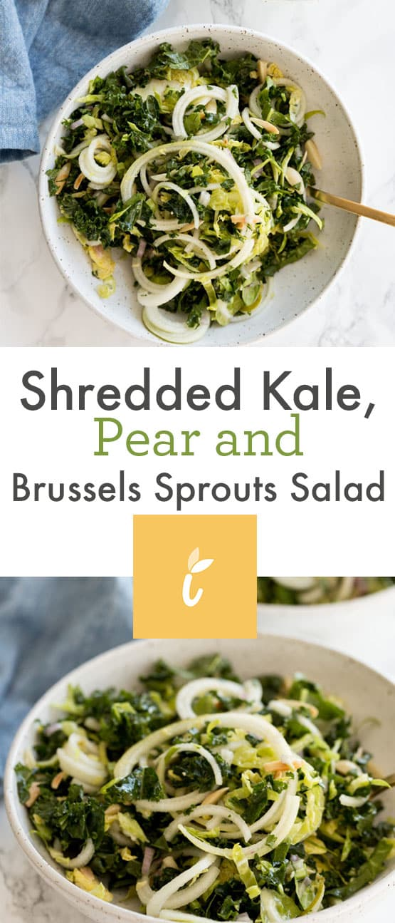 Shredded Kale, Pear and Brussels Sprouts Salad