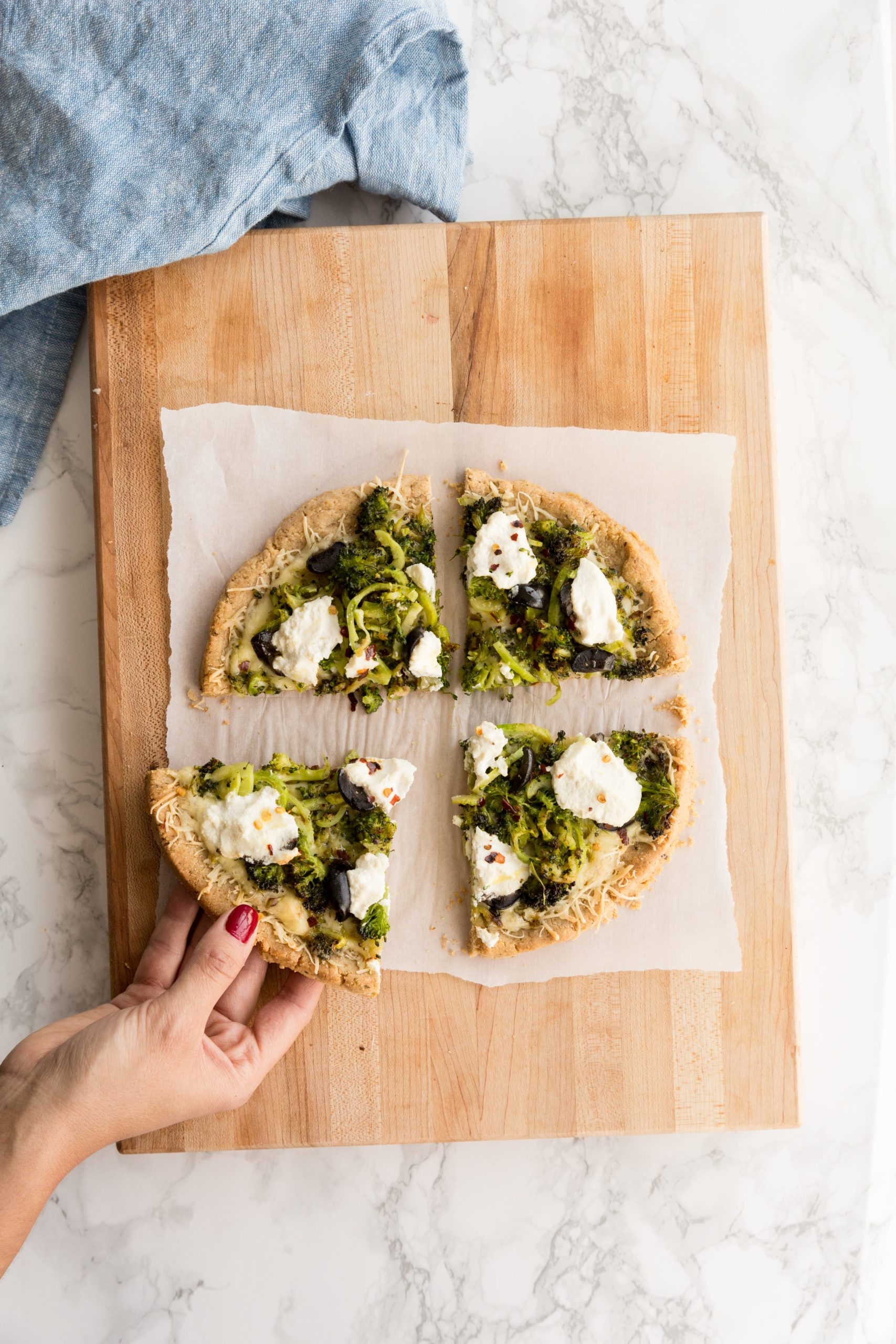 Spiralized Broccoli and Olive Bianca Pizza