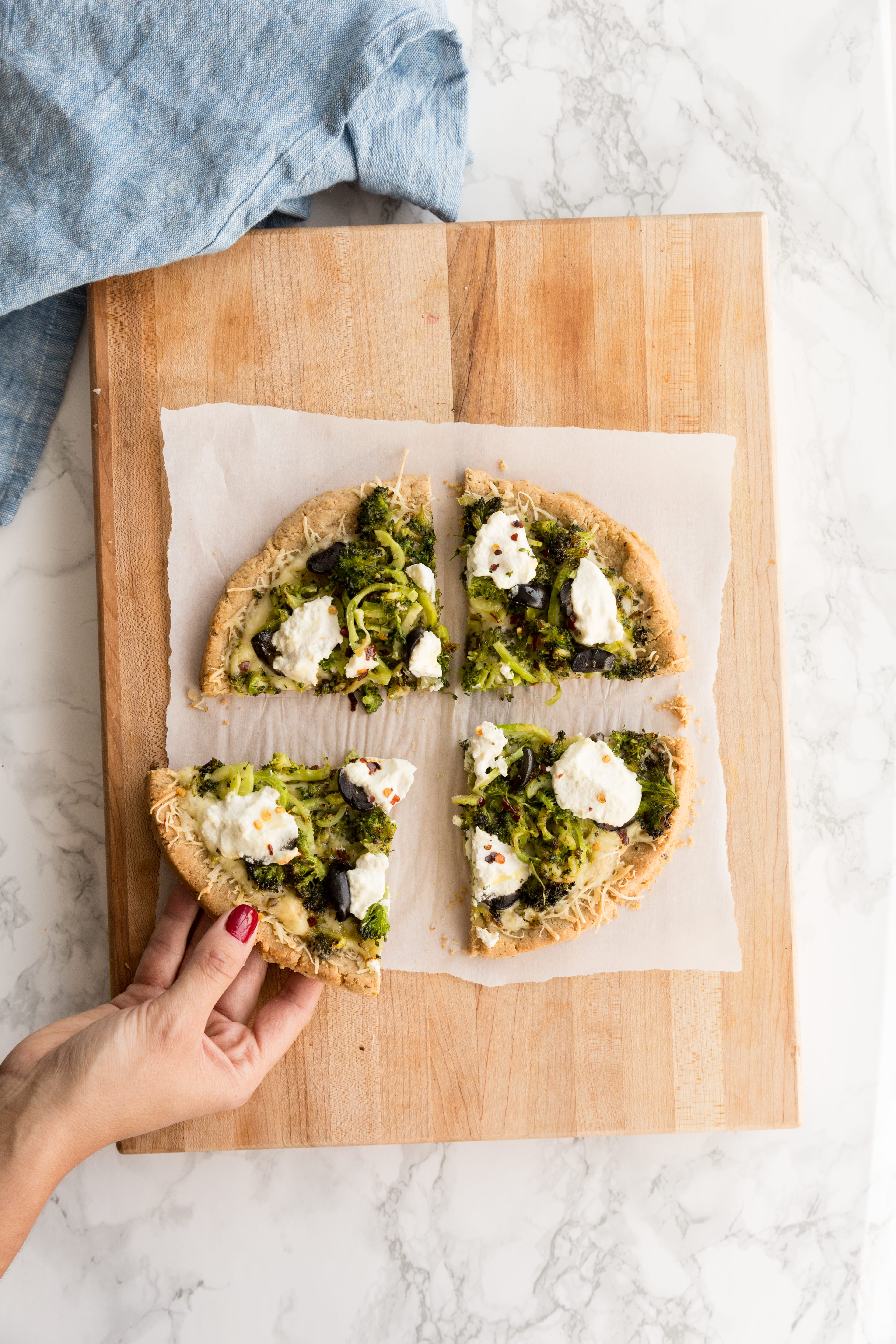 Spiralized Broccoli and Olive Bianca Pizza