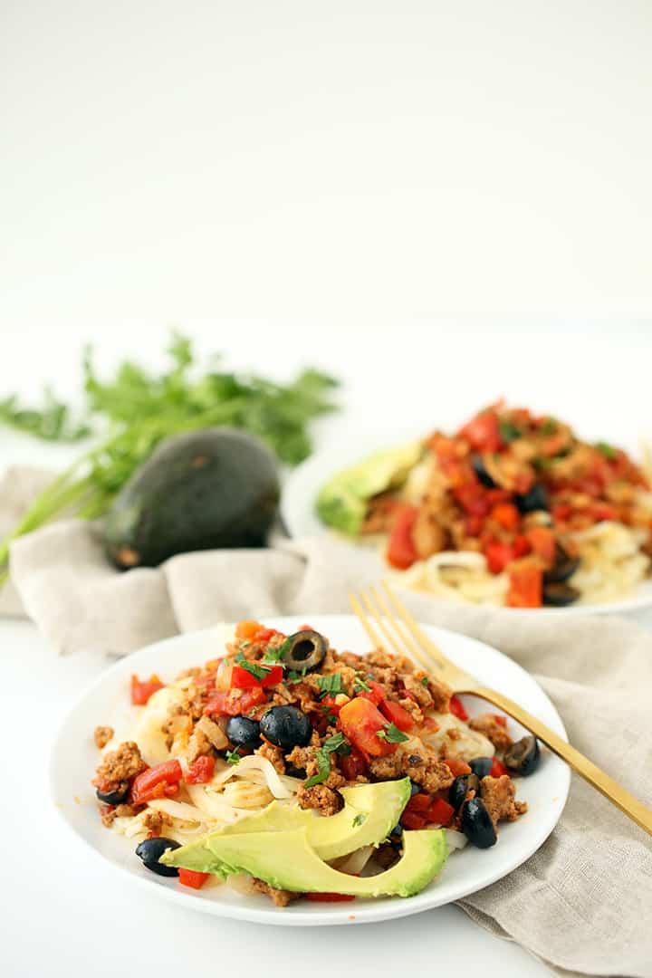 Easy Turkey Taco Celeriac Pasta