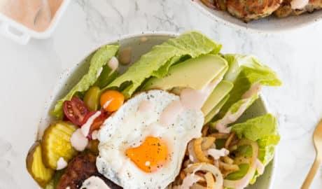 Turkey Burger Bowls with Spiralized Potatoes