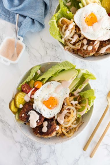 Turkey Burger Bowls with Spiralized Potatoes