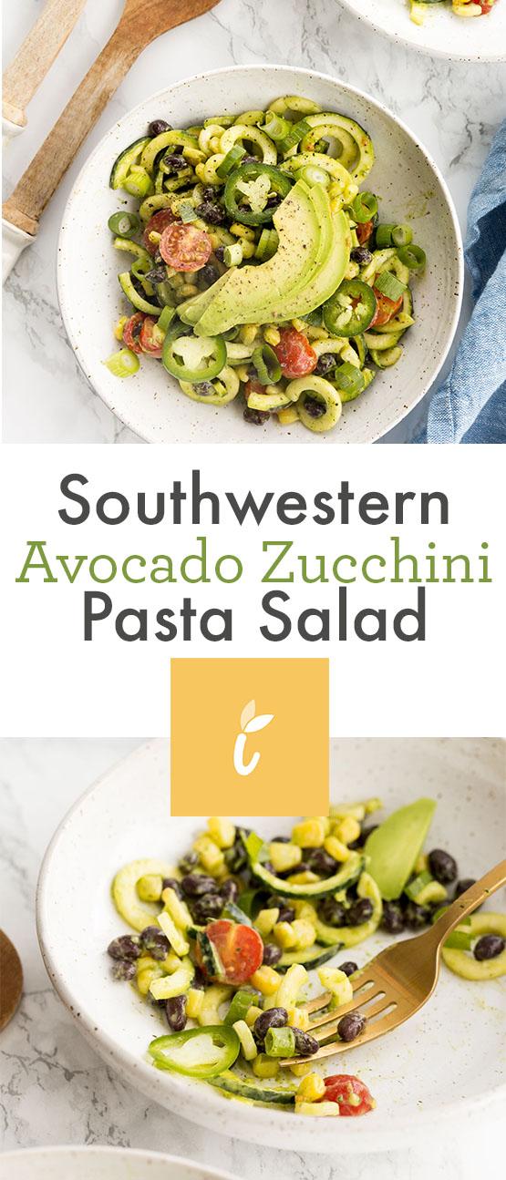 Southwestern Avocado Zucchini Pasta Salad