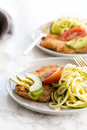 Breaded Pork Cutlets with Zucchini Noodles