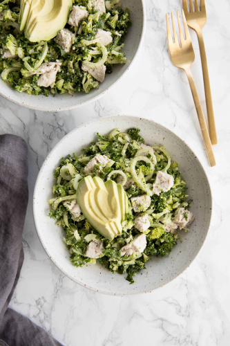 Broccoli Kale Caesar Salad with Chicken