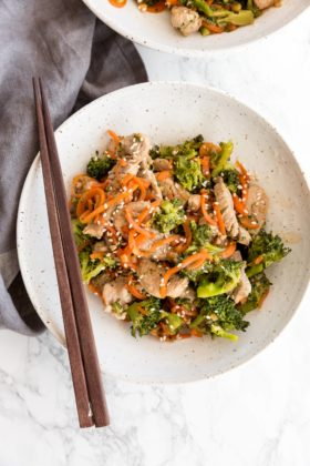 Sesame Ginger Garlic Pork Stirfry with Carrots